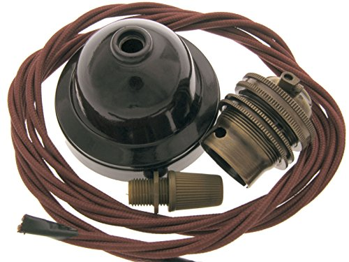 Brown Bakelite Ceiling Pendant Kit Burgundy Flex and Antique Brass Bulb Holder with Shade Ring