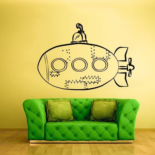 Wall Decal Vinyl Sticker Decor Art Bedroom Design Mural Nursery Kids Baby Submarine Sea Ocean (Z779) front-1023166