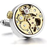 MunkiMix 2PCS Rhodium Plated Cufflinks Silver Gold Functioning Works Watch Movements in Working Condition Steampunk Vintage Men