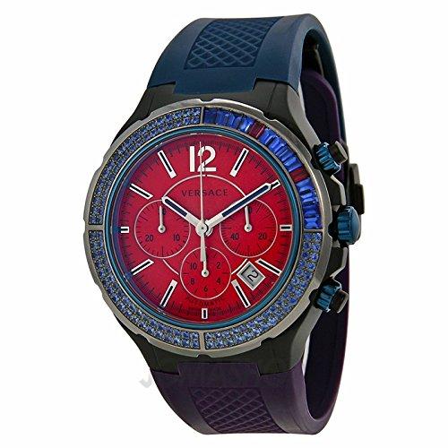 Versace Versace DV uno Cronografo Rosso Quadrante Blu e Nero Mens Orologio 26CCS92D800-S872