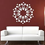 DeStudio Circle Pattern Flower Petals Leaves One Wall Decal (Size TINY - 43cms X 43cms & Color BLACK)