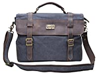 Gootium 30825 Cotton Canvas Genuine Leather ptop Messenger Business Shoulder Handbag