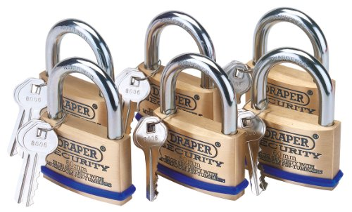 Draper 67663 6 60 mm Keyed Alike Solid Brass Padlocks