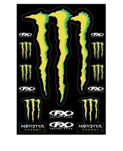 Factory Effex Monster Energy XL Sticker Decal Sheet Universal (Black Monster Energy Stickers compare prices)
