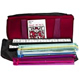 American Mah Jongg Soft Bag Case New 166 Tile Set with 4 Color Pushers, Burgundy