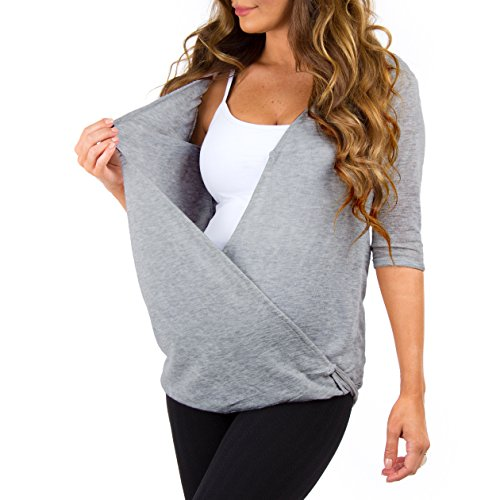 Women's Criss Cross Maternity and Nursing Wrap Tunic by Mother Bee - Made in USA