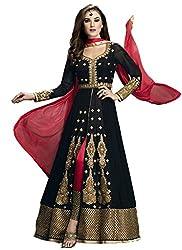 Maruti Creation Women's Georgette Semi-stitched Anarkali Suit Dress Material (MC1002_FREE_SIZE_BLACK)