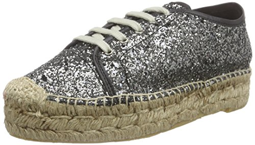 Buffalo London10701-3YU GLITTER - Espadrillas Donna , Grigio (Grau (PEWTER 01)), 38