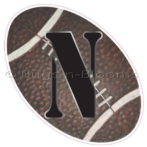 """N"" Football Alphabet Letter Name Wall Sticker (6"" W X 6""H). Decal Letters For Children'S, Nursery & Baby'S Sport Room Decor, Baby Name Wall Letters, Boys Bedroom Wall Letter Decorations, Child'S Names. Sports Balls Mural Walls Decals Baby Shower front-968308"