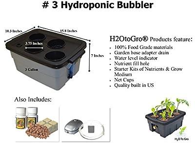 "H2OtoGro® Hydroponic BUBBLER Complete kit #3 ~ 16""x10"", 4 site"