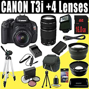 Canon EOS Rebel T3i 18 MP CMOS Digital SLR Camera with EF-S 18-55mm f/3.5-5.6 IS II Zoom Lens & EF 75-300mm f/4-5.6 III Telephoto Zoom Lens + Wide Angle/Telephoto 16GB Deluxe Accessory Kit