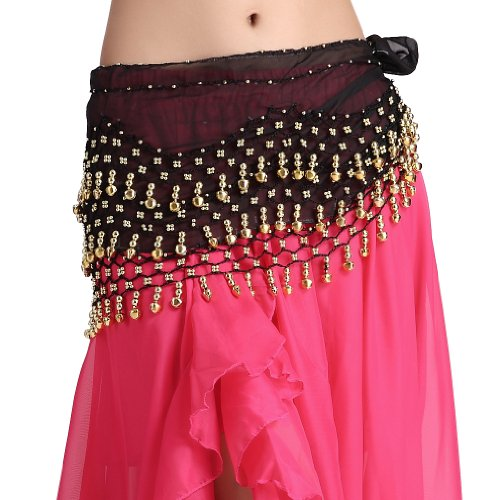 Feimei Women's Belly Dance Hip Scarf with 3-Rows of Bells Black