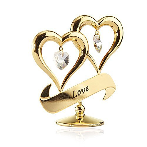 24K Gold Plated Love Double Heart Ornament Made with Genuine Matashi Crystals