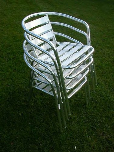 Aluminium Garden / Cafe / Bistro Chairs - Stack of 4
