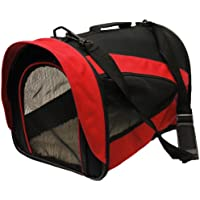 Mool Lightweight Fabric Pet Carrier Crate with Fleece Mat, 43 x 28 x 29 cm, Red