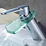 Auralum Modern Design Glass Waterfall Faucet Basin Sink Mixer Tap Kitchen Bathroom