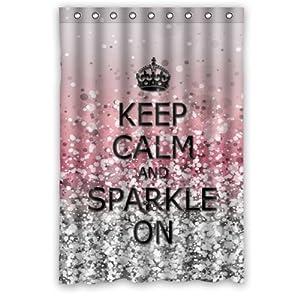 keep calm and sparkle on shower curtain 48 x