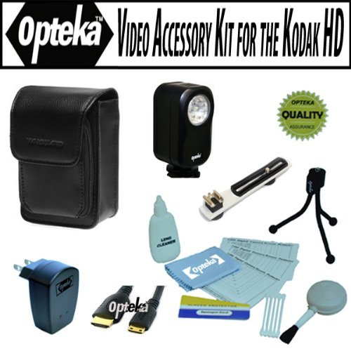 Opteka Professional Video Accessory Kit For The Kodak Playtouch, Zi8, Zx1, Playsport, Zxd Compact Hd Video Camcorder Includes Opteka Vl-20 Ultra Bright Led Video Light, Flash Bracket, Vanguard Sydney 6B Case, Hdmi Cable, Usb Ac Charger And More