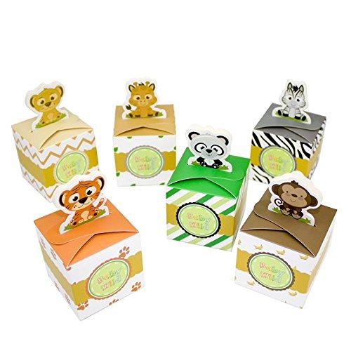 Amelyfavor Safari Animal Wild Theme Favor Box Baby Shower Candy Box 24 pcs (Safari Baby Shower Favors compare prices)