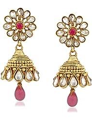 VK Jewels Tear Drop Gold Plated Alloy Jhumki Earring Set For Women & Girls -ERZ1303G [VKERZ1303G]