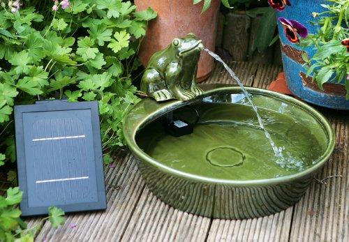 Fontaine Solaire Grenouille en Céramique