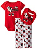 Disney Baby-Girls Newborn Minnie Mouse 3 Piece Bow Print Bib Set, Chinese Red, 6-9 Months