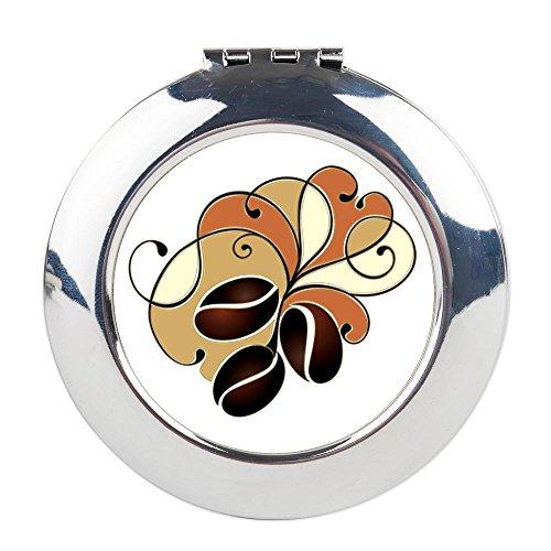 Round Compact Mirror Coffee Bean Floral