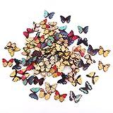 【ノーブランド品】着色 DIY クラフト 100pcs 縫製 カラフル 蝶 木 ボタン ビーズ アクセサリーパーツ 縫製 ボタン 手芸材料 工芸品