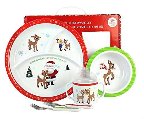 Kids Preferred 5-Piece Rudolph Dish Set - Melamine Construction - Safe and Asthma Friendly - Includes Plate, Bowl, Cup, Fork, and Spoon