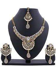 Glory Jewels Pearls Grand Kundan Necklace Set With Maang Tika