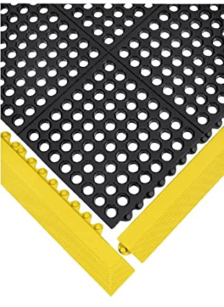 "Wearwell Nitrile Rubber 572 24/Seven Anti-Fatigue Mat, for Wet Areas, 3' Width x 3' Length x 5/8"" Thickness, Black"