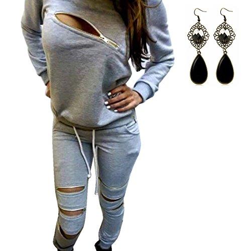 Sitengle Donna 2 Pezzi Basic Suit Tuta Felpa a Maniche Lunghe Tute Maglione Casuale Più Velluto Jogging Sweatshirt Camicetta Top + Pantaloni