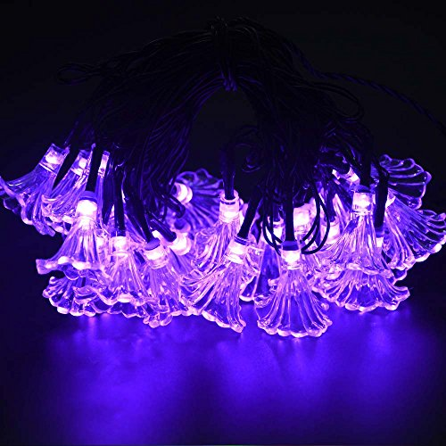 LuckLED Solar Powered LED Christmas Lights, 16ft 30 LED Morning Glory String Lights for Outdoor, Gardens, Homes, Wedding, Christmas Party, Waterproof (Purple) waterproof led laser lights rf remote laser christmas lights for outdoor garden wedding party decoration lighting star projector