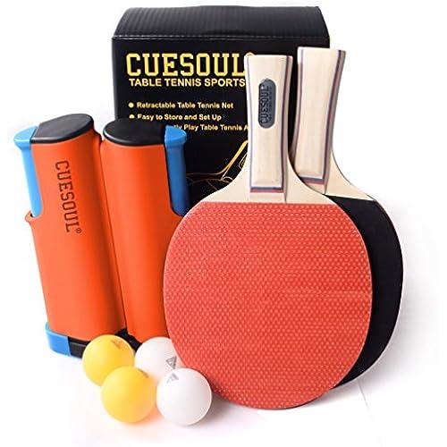 CUESOUL 포터블 탁구 세트 테니스 넷×1+라켓×2+볼×4-
