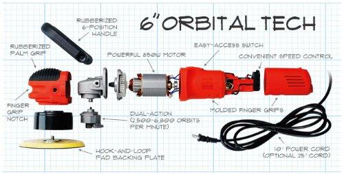 Pulidora orbital aleatoria Griot's Garage 10813STDCRD de 6 pulgadas con cable de 10 pies.