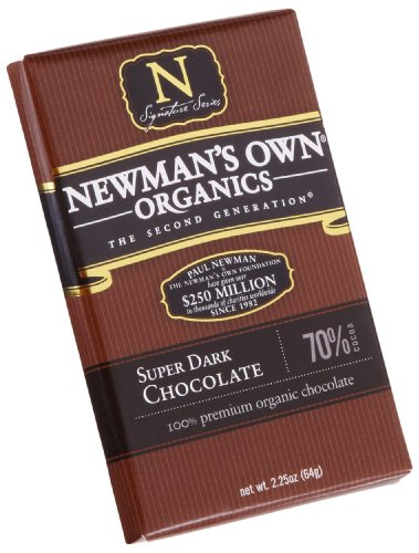 Newman's Own Organics Super Dark (70%) Chocolate Bar, 2.25-Ounce Bars (Pack of 12)