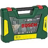 Bosch 91-teiliges V-Line Titanium-Set zum Bohren und Schrauben, inkl. Ratschen-Schraubendreher, 2607017195