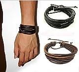 Vale® Unisex para hombre hecho a mano de cuero trenzado Pulsera del abrigo del brazalete(marrón)