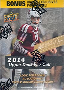 Buy 2014 Upper Deck Football Series Unopened Blaster Box of 8 Packs plus 5 Bonus Rookie Exclusives and Chance for Johnny... by Unopened Box of Packs