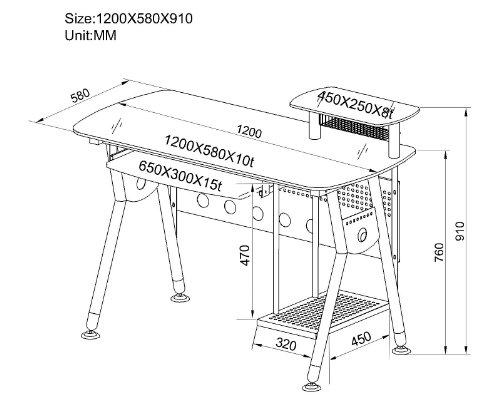 SixBros. Scrivania porta pc vetro/grigio argentato - CT-3783/40 - Vetro - Struttura grigio argentato