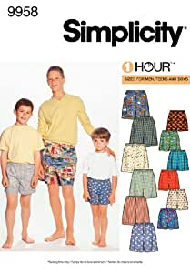Simplicity Sewing Pattern 9958 Boys and Men Boxer Shorts, A (XS-L/XS-XL)