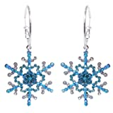 Silver-Tone Blue Snowflake Austrian Crystal Hoop Earrings A10203-3