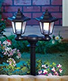Twin Head Black Solar Stake Lights, Solar Rechargeable