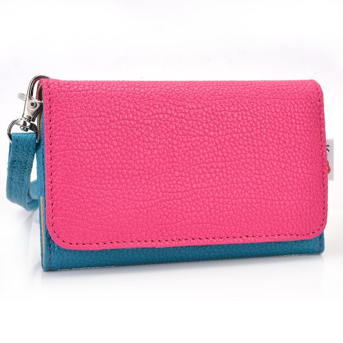 Exxist Women's Universal Wristlet Faux Leather Phone Wallet Case with Card Slots Fits Samsung Galaxy S3 Mini | Galaxy S4 Mini | Galaxy S4 mini (I9190) | Galaxy S5 mini (Forro Para Samsung Galaxy S4 Mini compare prices)