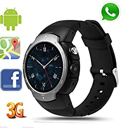 LEMFO LEM3 3G Smart Watch Cell Phone All-in-One MTK6580 Android 5.1 Quad Core WiFi GPS Heart Rate Monitor (Gunmetal)