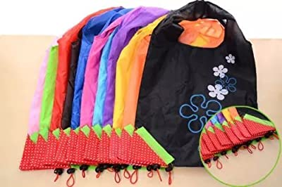IT Mall Cute 5 PCS Nylon Foldable Reusable Shopping Bags Eco Storage Handbag Strawberry Tote Reusable Bags-Random Color