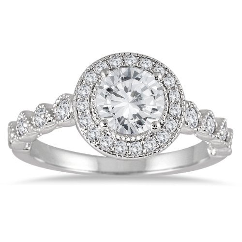 1 1/3 Carat Diamond Halo Antique Engagement Ring In 14K White Gold