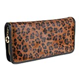 TinoTrade Leopard Print Fur Shell Travel Wallets Leather Women Clutch Purse