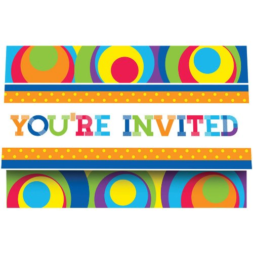 Creative Converting 8 Count Party Invitations, Mod Circle Birthday