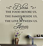29 Bless the Food Before Us the Family Beside Us and the Love Between Us Wall Decal Sticker Art Mural Home Decor Quote Lettering Christian Thanksgiving Kitchen Table